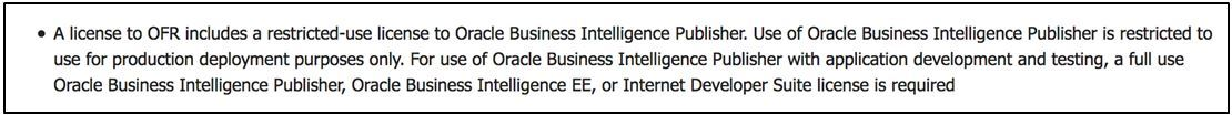 Oracle BI Publisher FMW Lizensierungs-Dokumentation