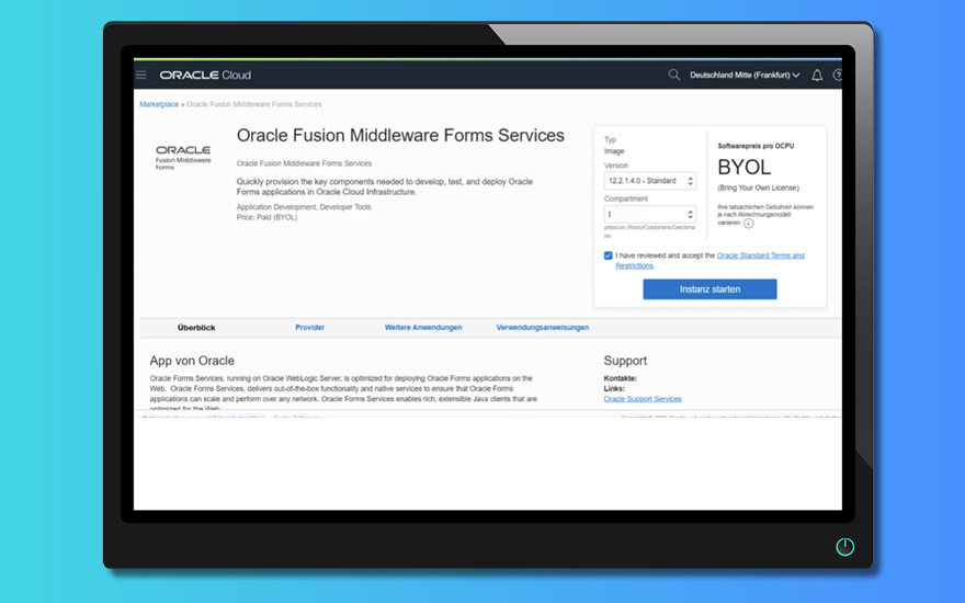 How to use the Oracle Forms 12.2.1.4 Marketplace Image