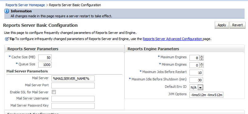 Reports Engine Settings and Recommendations for Oracle Reports