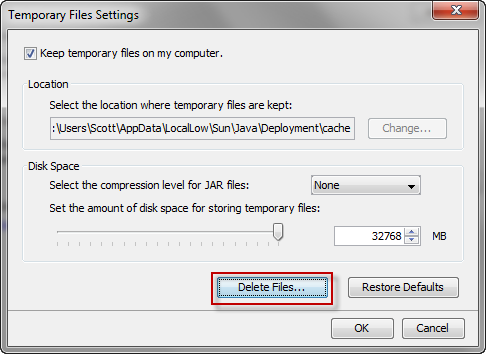 Delete Temporary Java Files